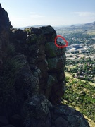 Rock Climbing Photo: The anchor is circled in red.