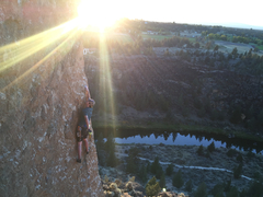 Brendan starting up the climb at sunset