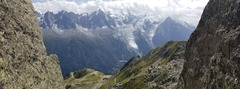 View of Aiguille du Midi, Mont Blanc, etc., from the top (actually, from where you rap down to from the top!)