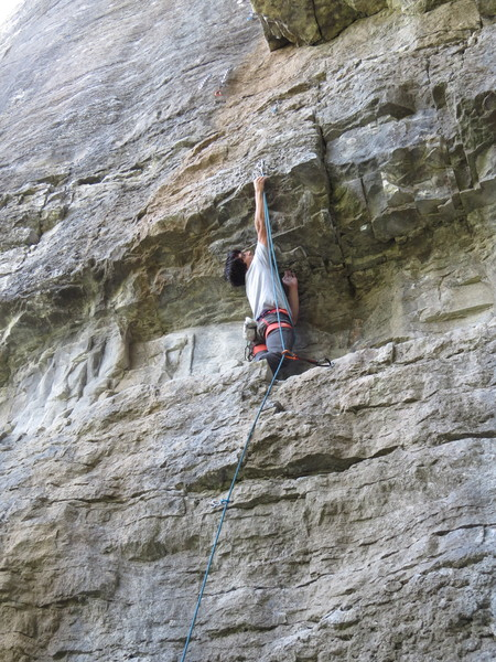 Rock Climbing Photo: FB making the high clip before the crux