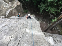 Rock Climbing Photo: Looking down p1. Other climber on p1 of Calculus D...