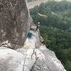 Looking down p4 at the higher belay station option for p3