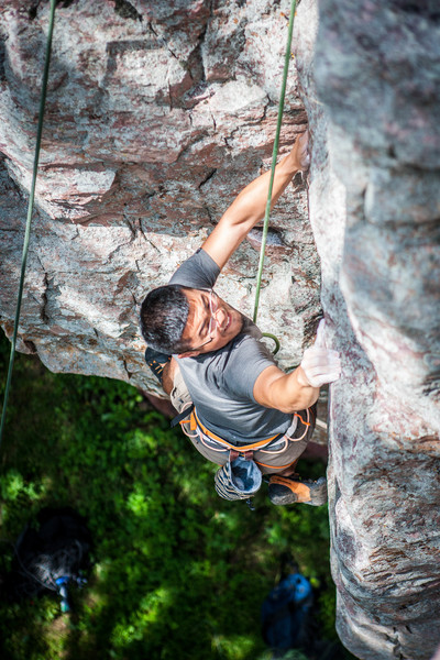 Kaz pulling through the end of the hard climbing