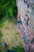 Rock Climbing Photo: Kaz latching the bad sloper.