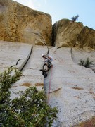 Rock Climbing Photo: Peter Pribik leading up P2 through the huge roof