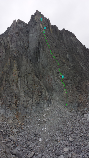 Direct West Arete, approximate route, with belays marked.