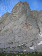Arsenault-Bouchard in red, and the North Face in yellow, showing where they split at the 3rd class ledge.