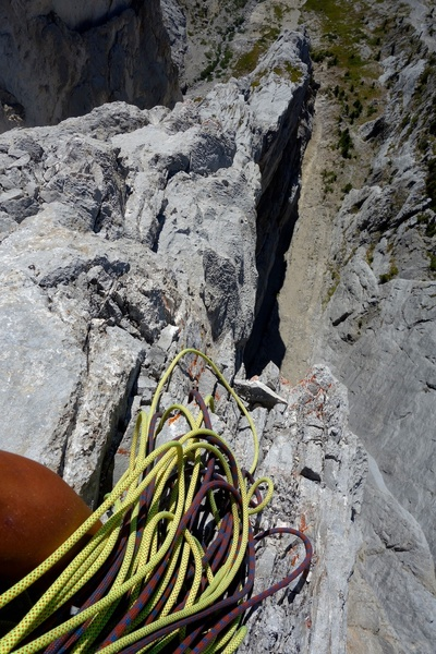 Awesome exposure (belay at top of Pitch 7).