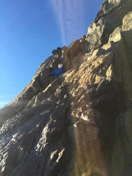 Marcos leading the 5.4 pitch on Olympus.  One 30m rope was just long enough.