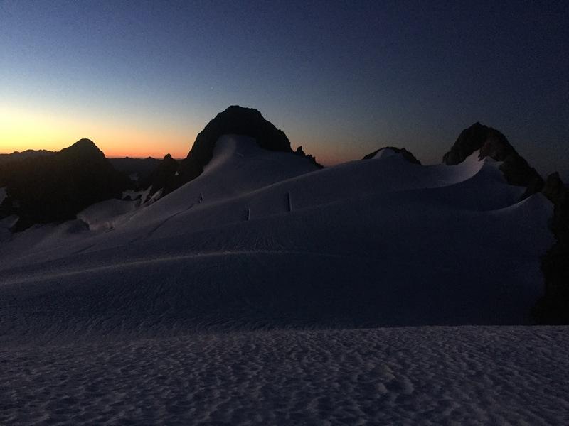 Sunrise on August 26, 2017 near the summit of Olympus looking back across the range.