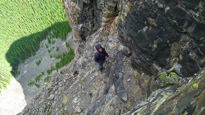 Looking down at the base of the belay for our 6th pitch (5th pitch in route description; we didn't simulclimb previous 250 ft 5.8 pitch).