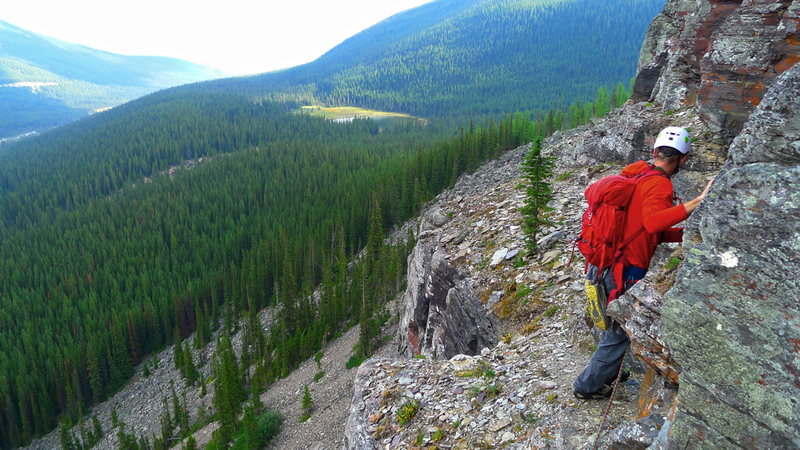 Start of the second pitch traverse on the McKay Route.