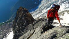 Rock Climbing Photo: Top of the spur where the traverse under Weissner ...