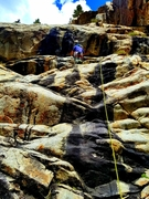 Rock Climbing Photo: Goes up through the next two black roofs.  Super a...