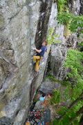 Rock Climbing Photo: Leap of Faith (13b), Makomis Mountain Cliff.
