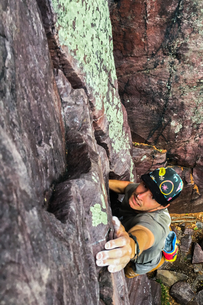 Kyle Harding hucks a lap on Jam Crack during a quick sans cord romp up Balanced Rock Ridge.