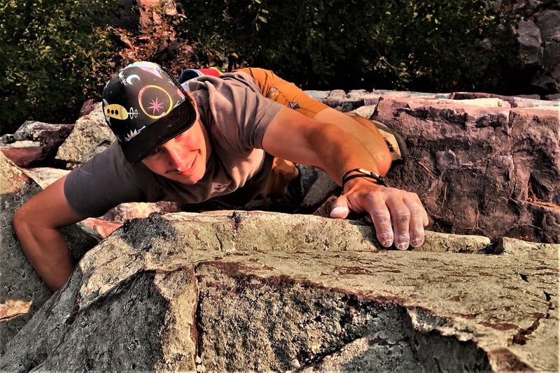Kyle Harding hucks a lap on Basswood Chimney during a quick sans cord romp up Balanced Rock Ridge.