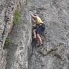Konrad, age 10, thrutching his way up the corner.