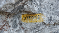 Rock Climbing Photo: Name painted at base