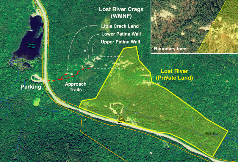 Map of private land within White Mountain National Forest near the Lost River Crags area.