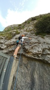 Rock Climbing Photo: Start at gate.  These two pitches are shared with ...