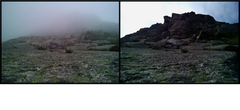 Rock Climbing Photo: After climbing into the fog all day, we finally sa...