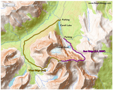 Rock Climbing Photo: Map of East Ridge and West Ridge routes.