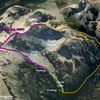 Google Earth of East Ridge and West Ridge routes.
