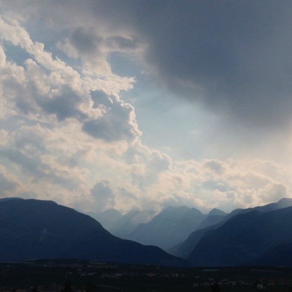 View from Fondo with storm clouds rolling in