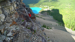 Rock Climbing Photo: Looking back at the belay from the start of the se...