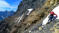 Rock Climbing Photo: Traversing under the black towers. This was the sk...