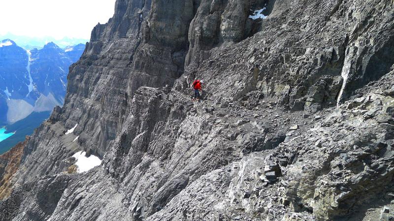 Routefinding a bit below the summit ridge.