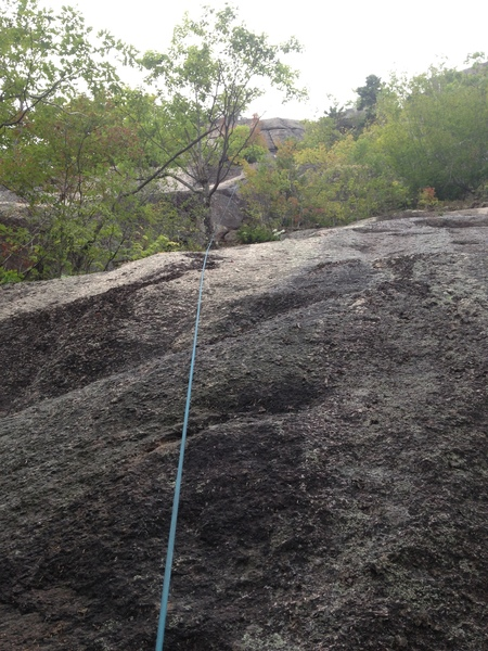 This is the mellow slab, you can see the belay tree and wayyy up there the final headwall