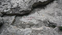 Rock Climbing Photo: Name painted at base