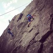 Rock Climbing Photo: Damian, age 5, digging in for a long reach (reach ...