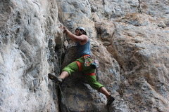 Me, clipping the second bolt on Corporate Greed. Great climb, wish it were longer.