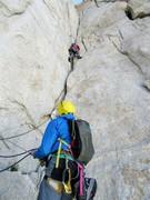Rock Climbing Photo: R Shore leading the fantastic P8. Pic:A.Ness