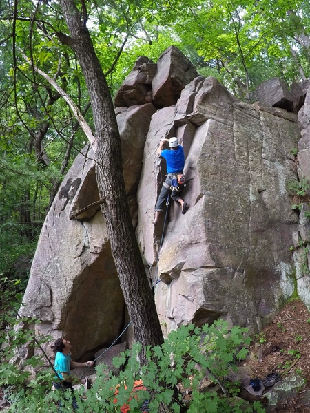 Gear is small and gets a little better the higher you go.  Fun route, this little crag is worth a couple hours of time.