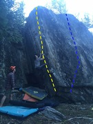 Rock Climbing Photo: TOF  Yellow: Twist of Fate Blue: Project