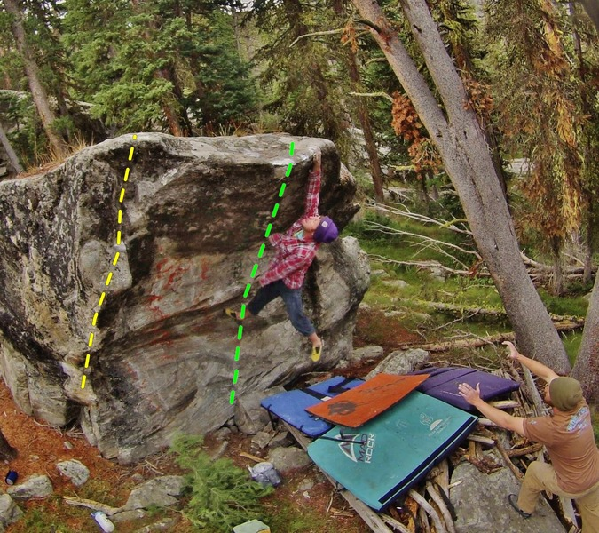 K. Redberg on 'URB'<br> <br> Yellow: Anderson's Arete<br> Green: Unicycle Riding Bear