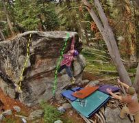 Rock Climbing Photo: K. Redberg on 'URB'  Yellow: Anderson's Arete G...