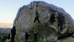 Rock Climbing Photo: The crux throw on Checkerboard