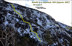 Rock Climbing Photo: Route line for Needle in a Haystack.