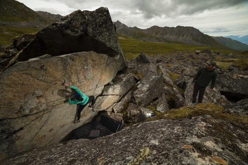 Christie working through the crux on Such Awesome.<br> <br> Photo Courtesy of Coleman Becker.