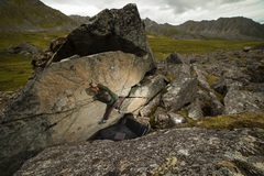 Rock Climbing Photo: Coleman working through the crux on Such Awesome.