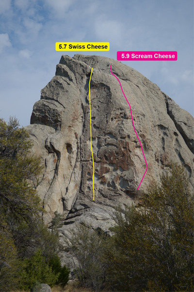 This is just the rough idea of the routes not exactly where you'll be climbing. I skipped the last bolt at the 5.9 scream cheese went right to the anchors. The top slab climbing was real scary.