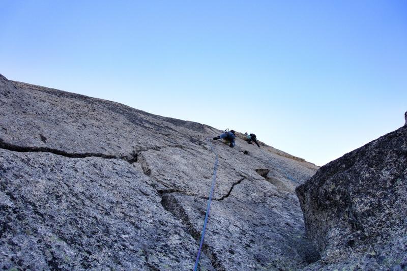 Superb cracks on Rebuffat Mazars on Aiguille du Peigne.