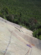 Rock Climbing Photo: Looking down P1