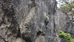 Cadence Brown on the first ascent of The Sidewalk