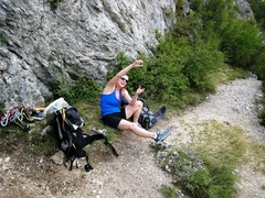 Rock Climbing Photo: At the base of Le Bec de L'Aigle, Patty gets ready...